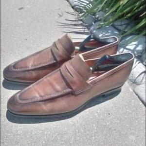 Santoni loafers size 11 tan